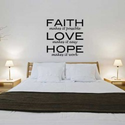 Muursticker Faith love hope