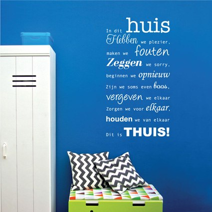 Muursticker In dit huis 2 Tekst stickers