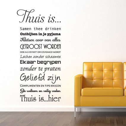 Tekst Stickers Muur.Muursticker Thuis Is Stickythings Nl