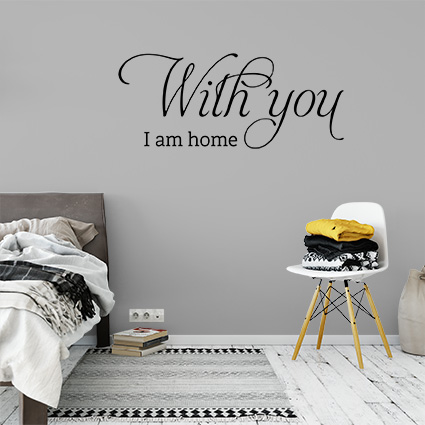 slaapkamer muursticker with you i am home