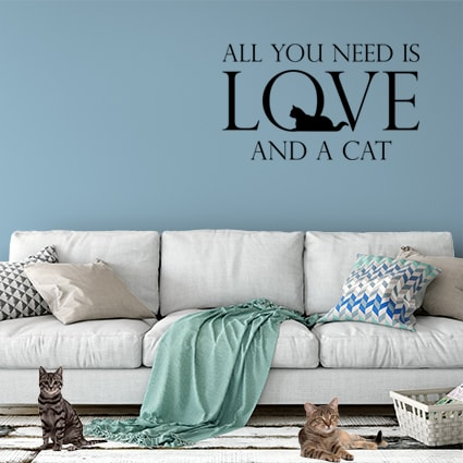 muursticker cat love